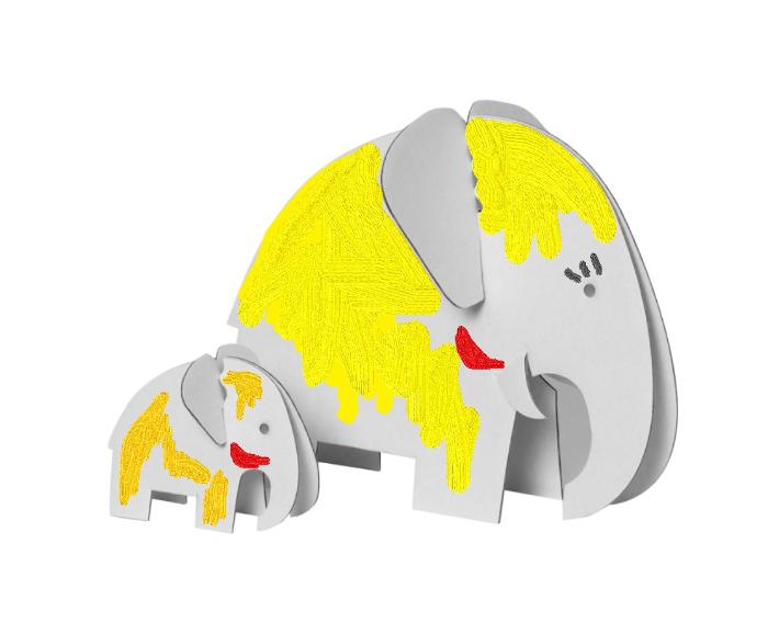 elefantenfamliie - 4er bastelset