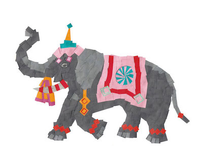 elefantenmosaik - zum basteln