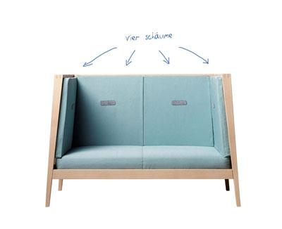 Linea Umbau zum Sofa - 4 schaumstoffkissen